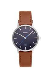 Norrebro Stainless Steel Tone Saddle Leather Strap Watch, 40MM