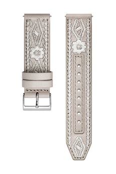 Silver Tone Stitched Leather Guitar Strap, 20MM