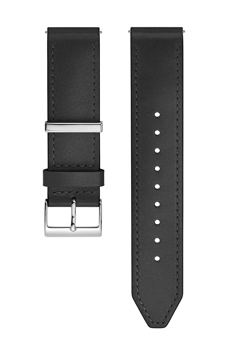 Silver Tone Leather Strap, 20MM