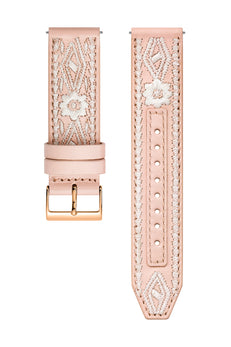 Rose Gold Tone Stitched Leather Guitar Strap, 20MM