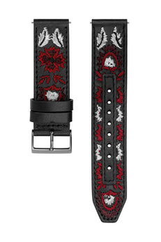 Gunmetal Tone Embroidered Leather Guitar Strap, 20MM