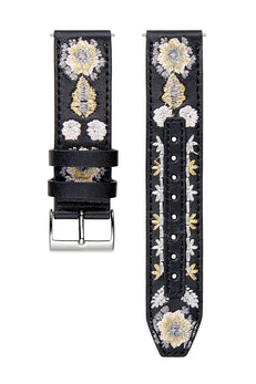 Silver Tone Embroidered Leather Guitar Strap, 20MM