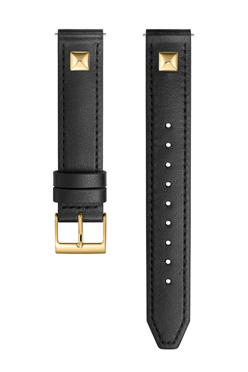 Gold Tone Pyramid Stud Leather Guitar Strap, 16MM
