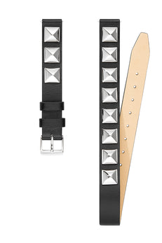 Silver Tone Studded Wrap Leather Strap, 14MM