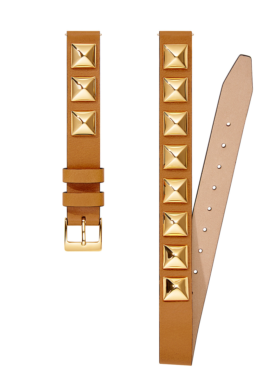 Gold Tone Studded Wrap Leather Strap, 14MM