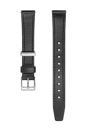 Silver Tone Leather Strap, 14MM
