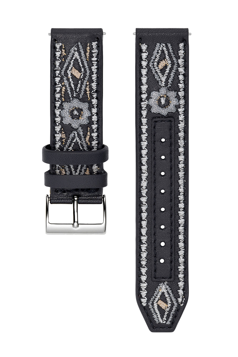 Major Interchangeable Black Stitched Strap