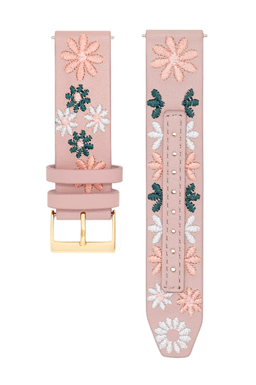 Major Interchangeable Pink Floral Stitched Strap