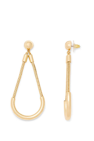 E01968reb tube and chain earring  gold a large