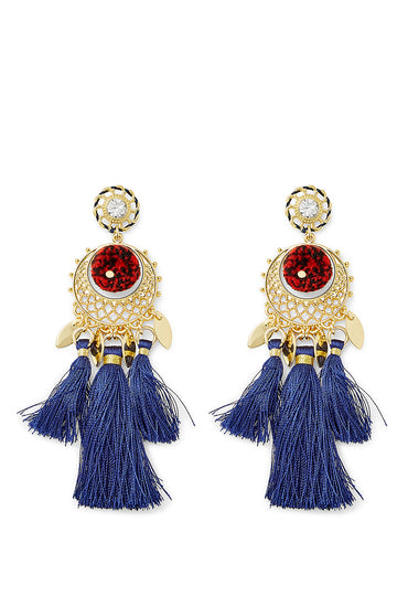 Tassel And Pom Drama Chandelier Earrings