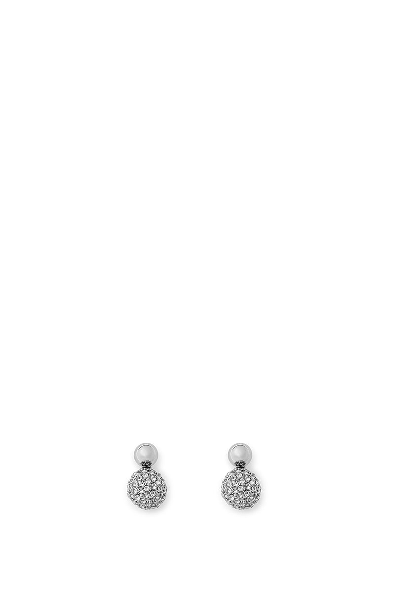 Mini Double Sphere Pave Stud Earring