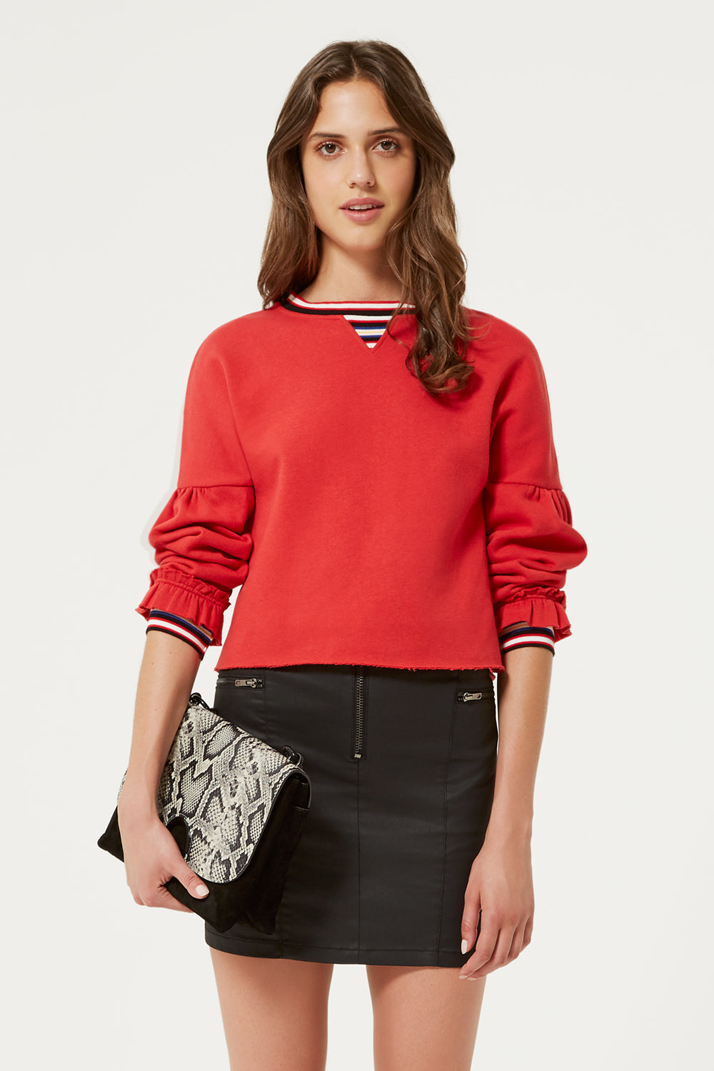 Rebecca Minkoff  Red Stripped Sweatshirt | Red Jewel Sweatshirt | Rebecca Minkoff