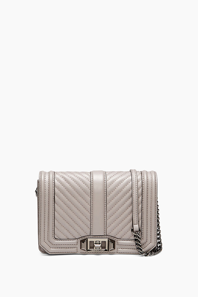 Love Chevron Quilted Small Leather Crossbody in Grey