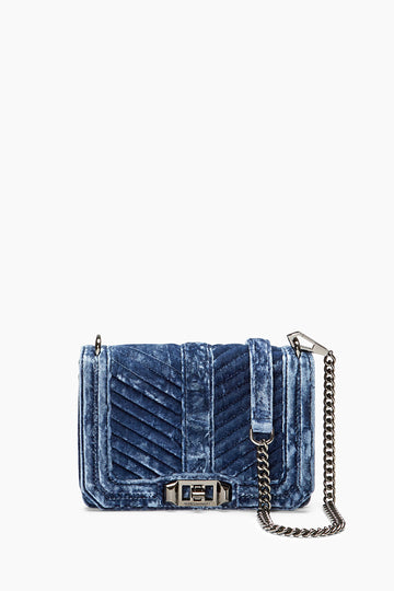 Velvet Chevron Quilted Small Love Crossbody