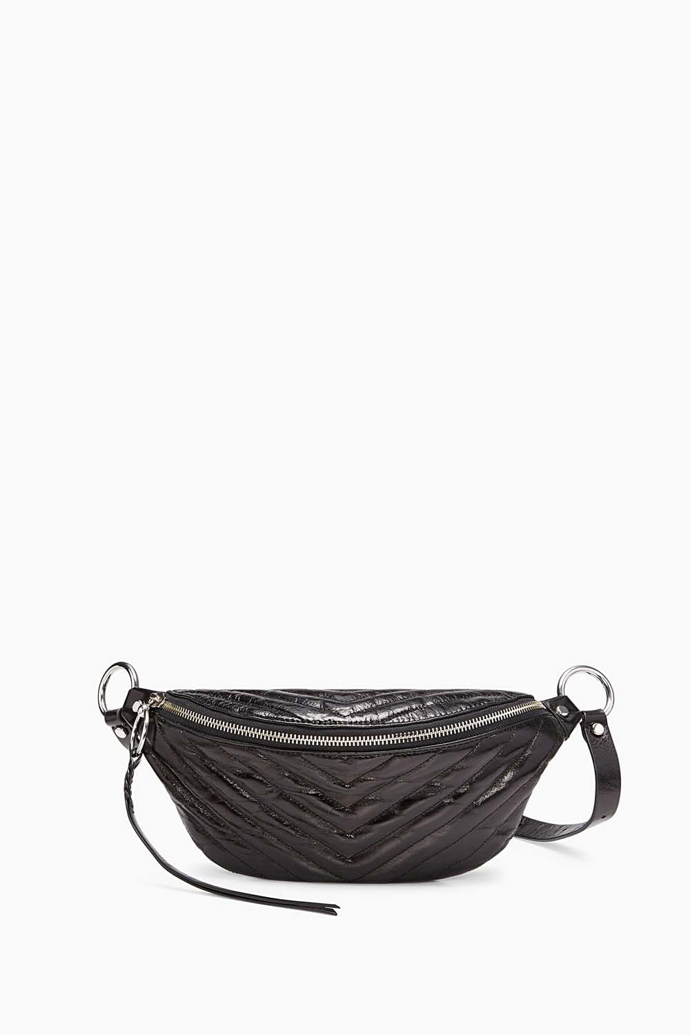 Edie Large Leather Sling Belt Bag, Black
