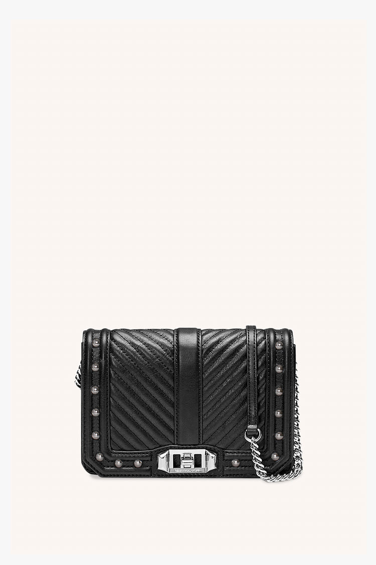 Rebecca Minkoff Chevron Quilted Small Love Crossbody With Studs