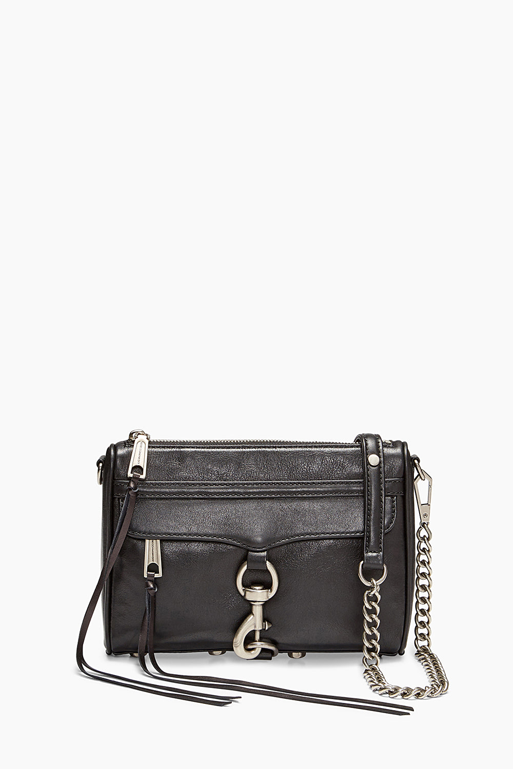 Black Leather Mini M.A.C. Crossbody Bag