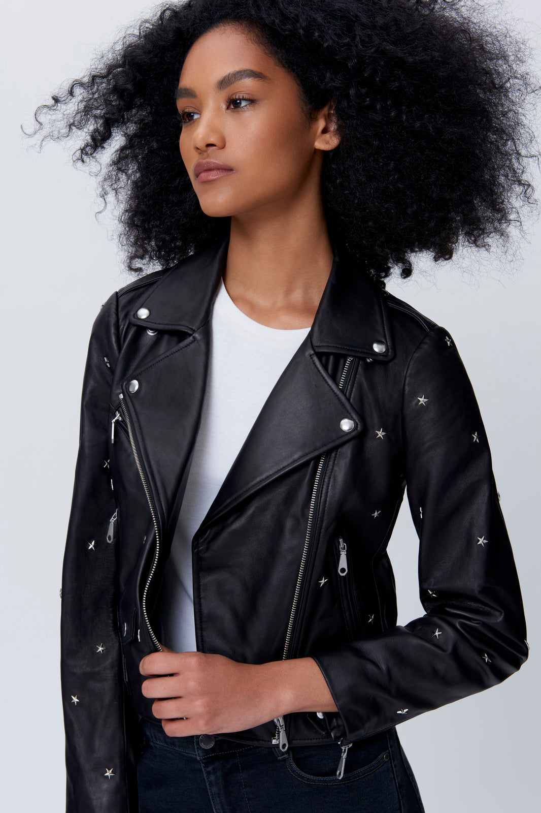Wes Moto Jacket With Star Studs