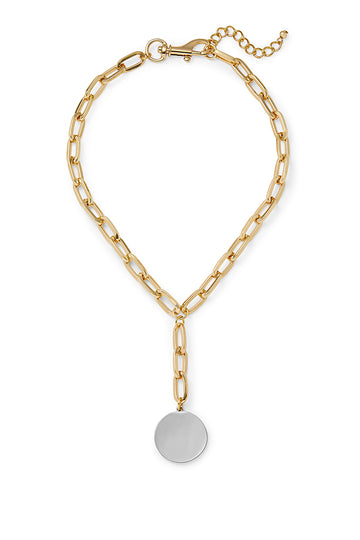 Signature Chain Two Tone Medallion Y-Neck Necklace