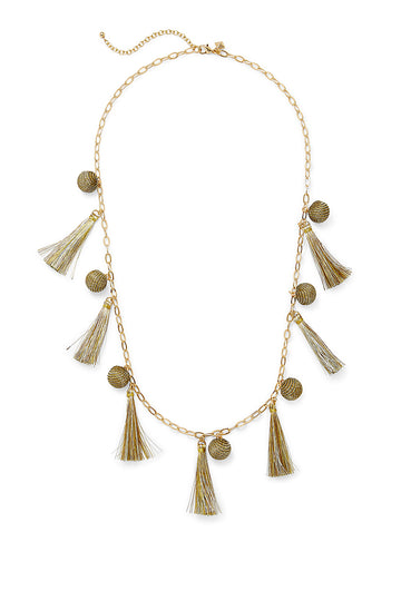 Metallic Pom and Tassel Necklace
