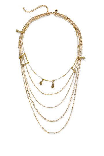 Long Layered Necklace with Metallic Tassels