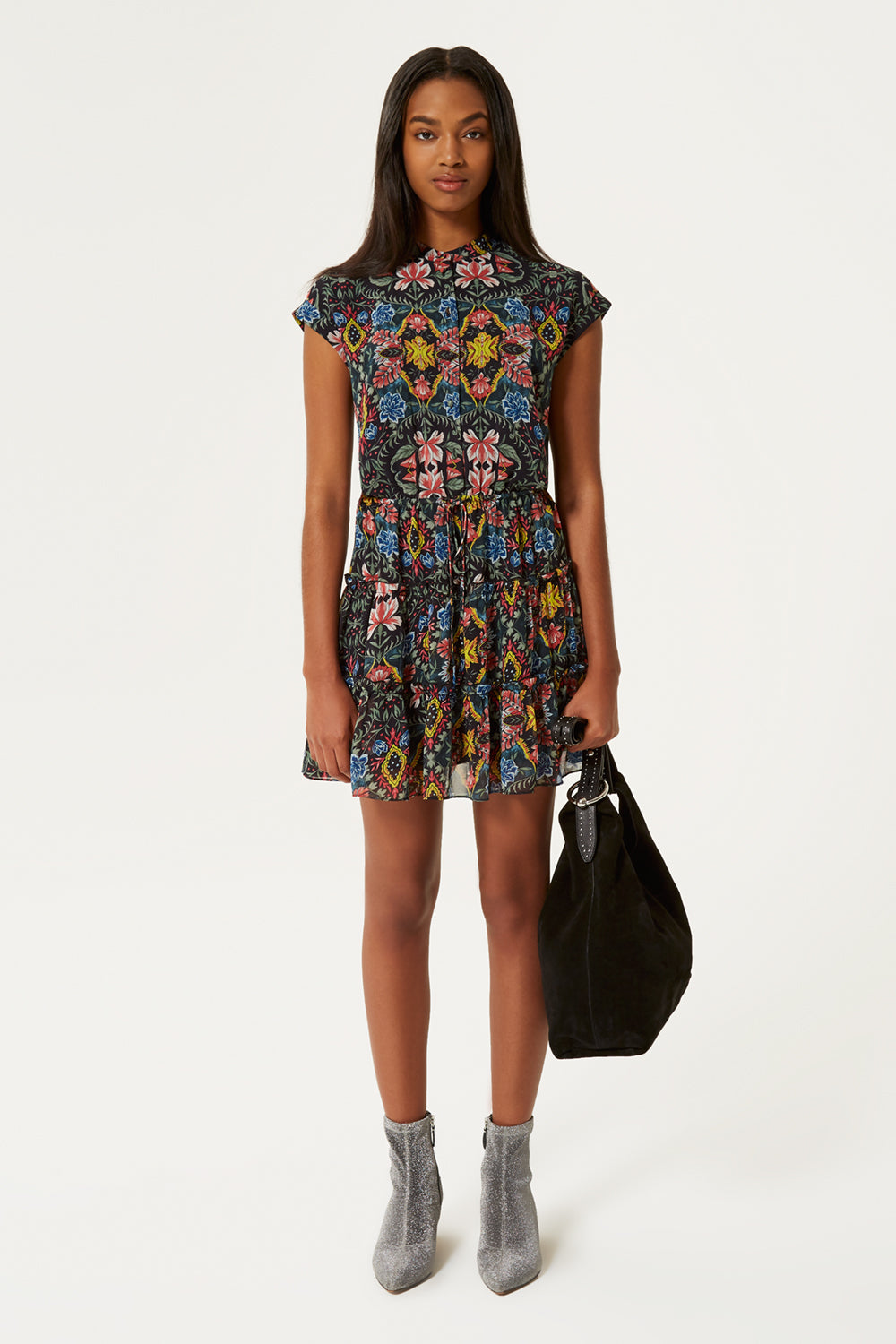 Ollie Floral-Print Cap-Sleeve Dress in Multi from REBECCA MINKOFF