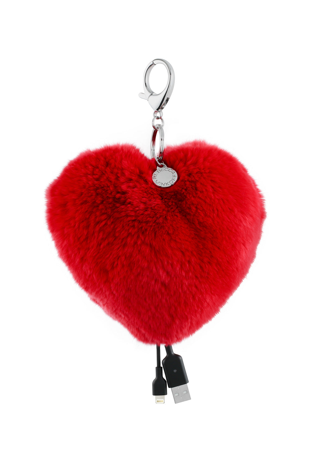 Rebecca Minkoff Heart Shaped Power Puff Keychain RPrSeq