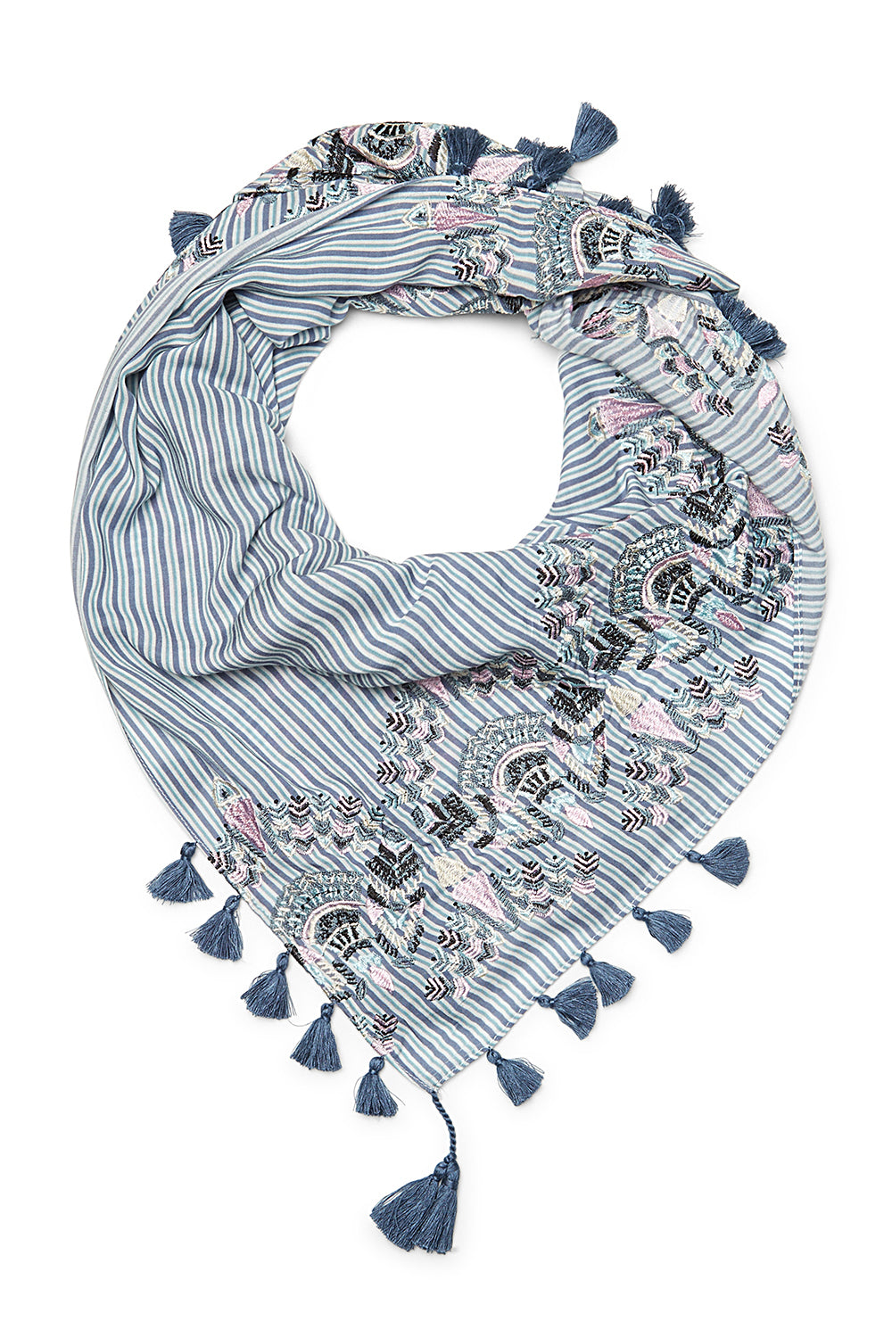 Evil Eye Embroidered Square Scarf