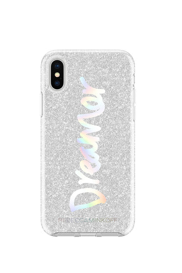 Dreamer Silver Glitter Case For iPhone X