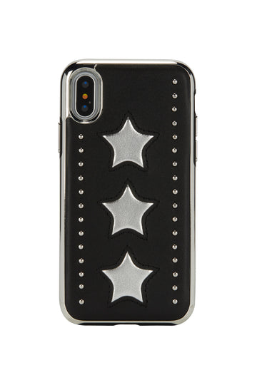 Leather Star Inlay Case For iPhone X