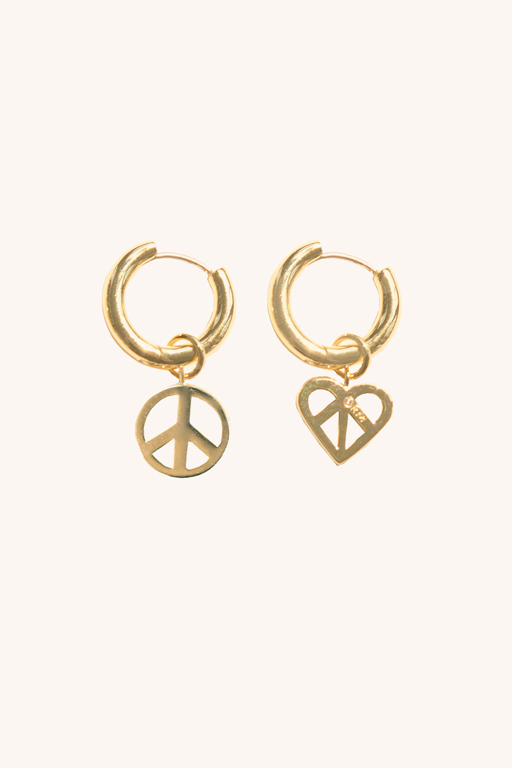 Rebecca-Minkoff Peace Sign Mismatched Huggie Hoops