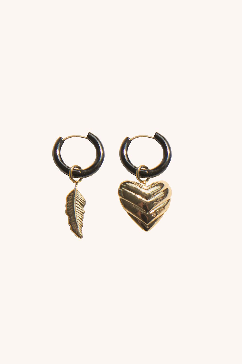 Rebecca-Minkoff Feather & Quilted Heart Mismatched Huggie Hoops