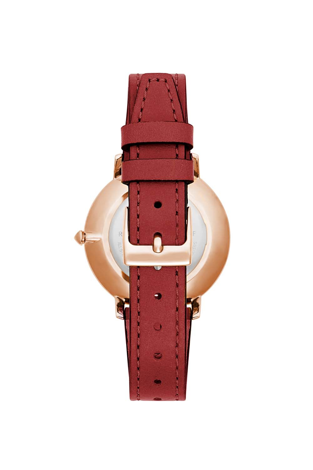 Major Rose Gold Tone Red Strap Watch, 35mm