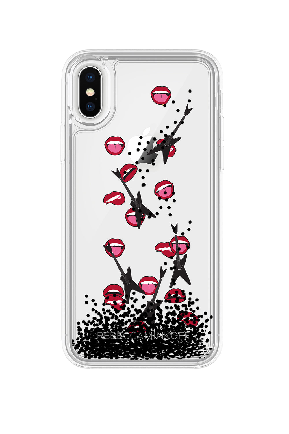 Guitar & Lip Glitterfall Case For iPhone X