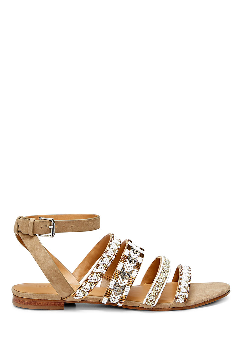 Women'S Leila Beaded Suede Ankle Strap Sandals, Aztec Multi
