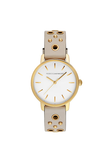 BFFL Gold Tone Putty Grommet Strap Watch, 36MM