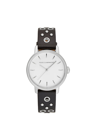 BFFL Silver Tone Black Grommet Strap Watch, 36MM