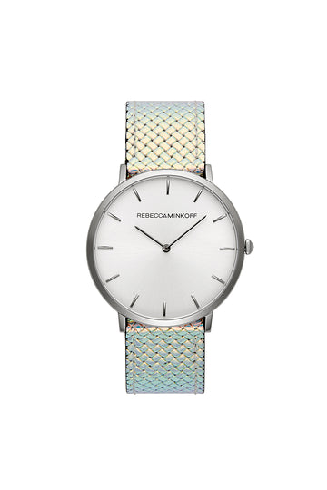 Major Silver Tone Iridescent Strap Watch, 40MM