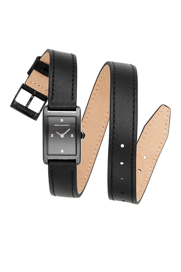 Moment Black Ion Plated Tone Leather Watch, 19x30MM
