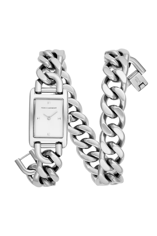 Moment Silver Tone Chain Bracelet Watch, 19x30 Mm by Rebecca Minkoff