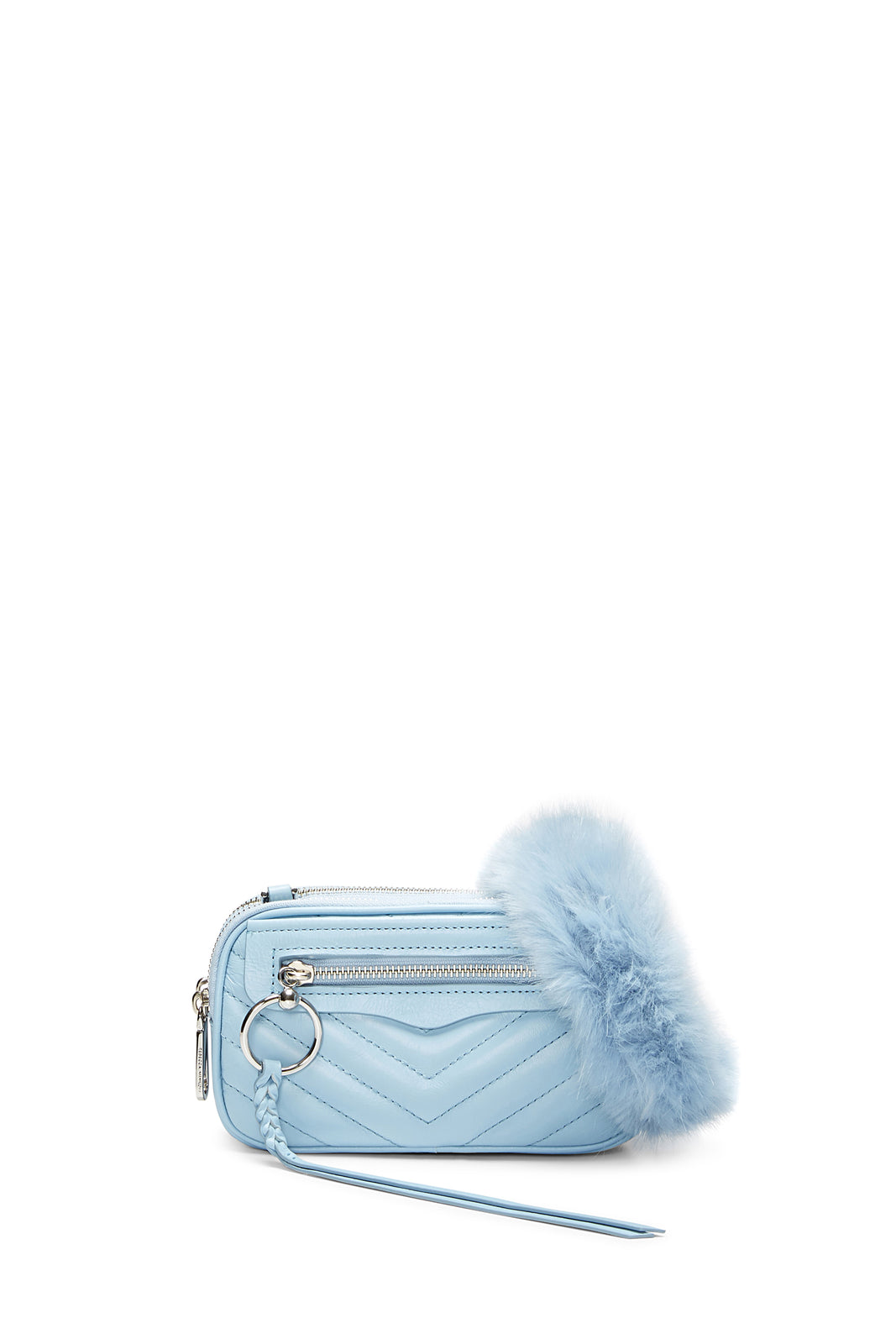 Double Zip Crossbody With Faux Fur Guitar Strap