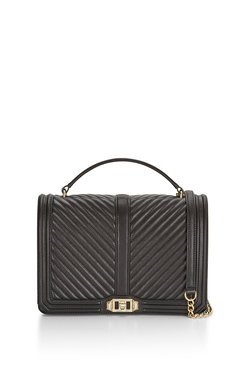 Chevron Quilted Jumbo Love Crossbody With Top Handle