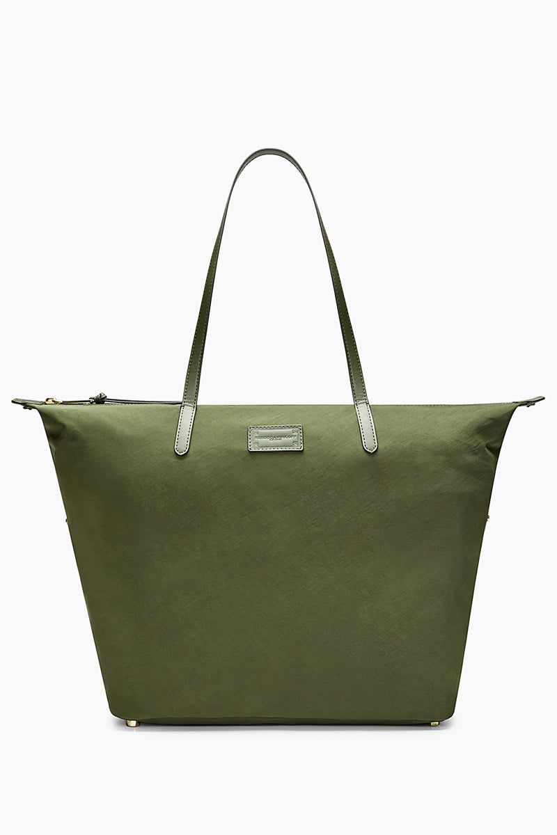 WASHED NYLON TOTE - GREEN