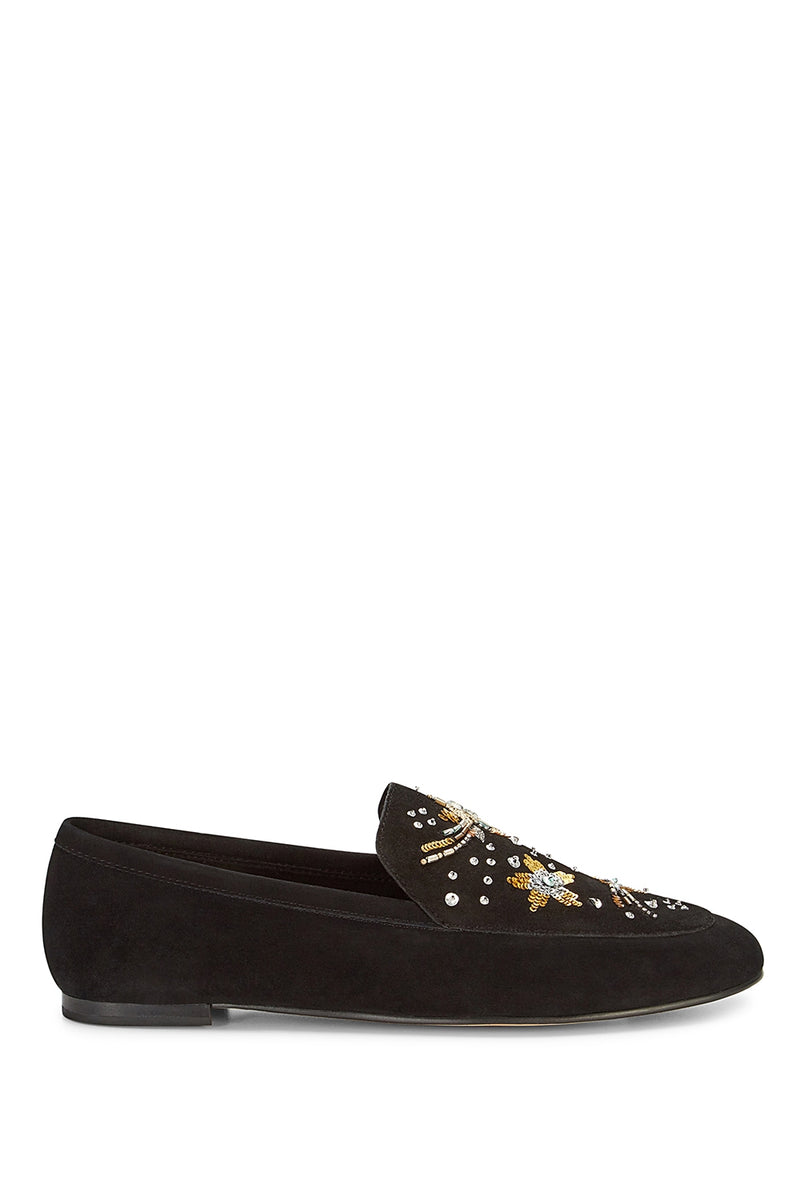 Raine Embroidery Loafer in Black