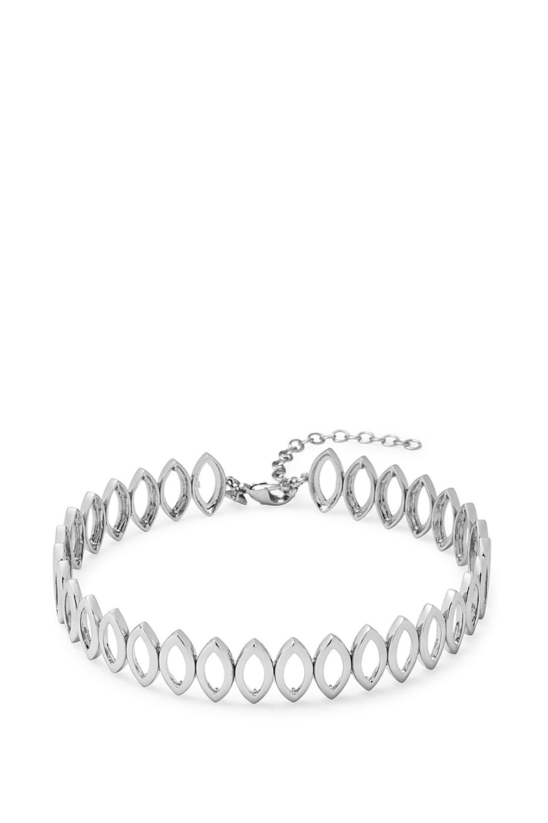 Navette Metal Choker Necklace, 11.25 in Silver
