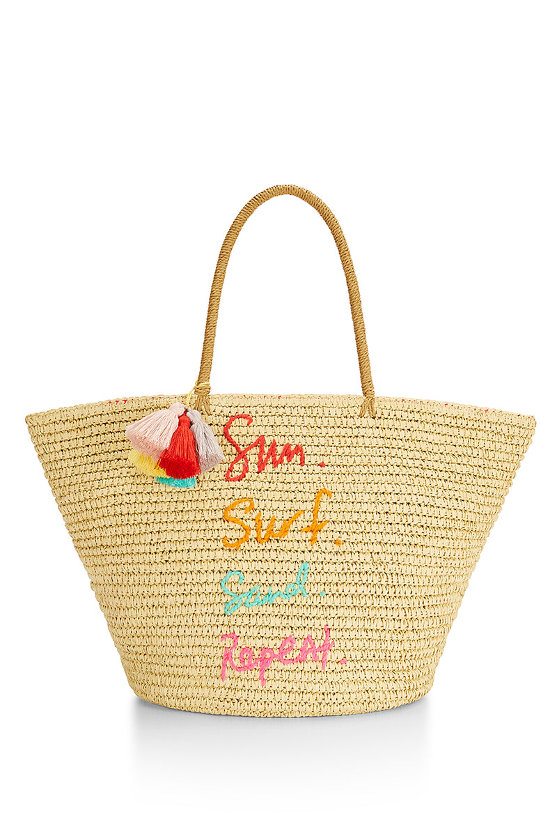 Straw Tote-Sun. Surf. Sand. Repeat.