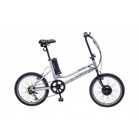"Viking Street Easy, 6 Speed, 20"" Wheel Alloy Folding Electric Bike, Chrome Silver"