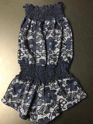SMOCKED ROMPER NAVY LACE