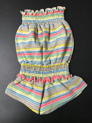 SMOCKED ROMPER MULTI STRIPES