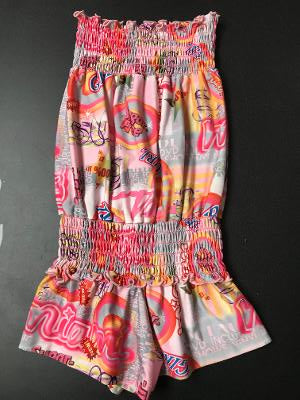SMOCKED ROMPER PINK GRAFFITI